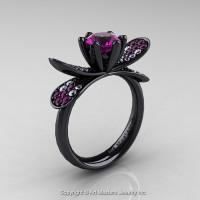 14K Black Gold 1.0 Ct Amethyst Diamond Nature Inspired Engagement Ring Wedding Ring R671-14KBGDAM-1