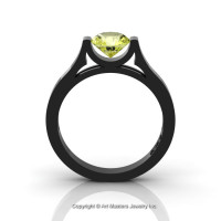 Modern 14K Black Gold Beautiful Wedding Ring or Engagement Ring for Women with 1.0 Ct Yellow Topaz Center Stone R665-14KBGYT-1