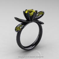 14K Black Gold 1.0 Ct Yellow Sapphire Diamond Nature Inspired Engagement Ring Wedding Ring R671-14KBGDYS-1