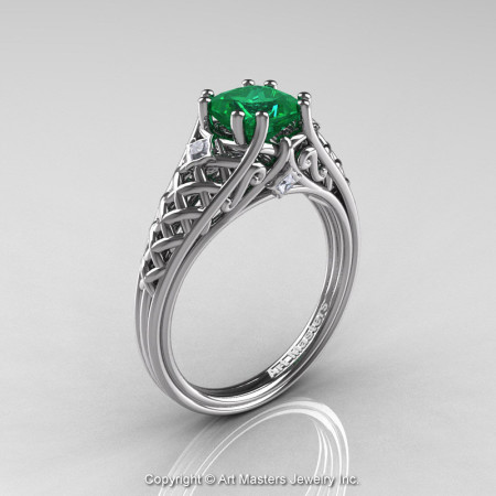 Classic French 14K White Gold 1.0 Ct Princess Emerald Diamond Lace Engagement Ring or Wedding Ring R175P-14KWGDEM-1
