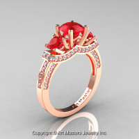 Exclusive French 18K Rose Gold Three Stone Rubies Diamond Engagement Ring Wedding Ring R182-18KRGDR-1