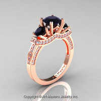 Exclusive French 18K Rose Gold Three Stone Black and White Diamond Engagement Ring Wedding Ring R182-18KRGDBD-1