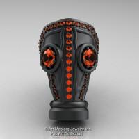 Art Masters Avant Garde Mens 14K Matte Black Gold 2.0 Ct Orange Sapphire Gas Mask Ring R184M-14KMBGOS-1