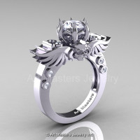 Art Masters Classic Winged Skull 10K White Gold 1.0 Ct White CZ Solitaire Engagement Ring R613-10KWGCZ-1