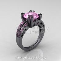 Modern Vintage 14K Gray Gold 3.0 Carat Light Pink Sapphire Solitaire Ring R102-14KGGLPS-1