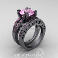 Modern Vintage 14K Gray Gold 3.0 Carat Light Pink Sapphire Solitaire and Wedding Ring Bridal Set R102S-14KGGLPS-1