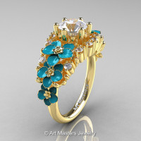 Nature Classic 18K Yellow Gold 1.0 Ct White Sapphire Diamond Turquoise Orchid Engagement Ring R604-18KYGDTWS-1