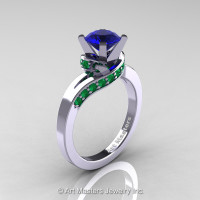 Classic 14K White Gold 1.0 Ct Blue Sapphire Emerald Designer Solitaire Ring R259-14KWGEMBS-1