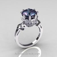 Classic Tatyana 14K White Gold 3.0 Ct Russian Alexandrite Princess CZ Solitaire Wedding Ring R303-14WGCZAL Perspective