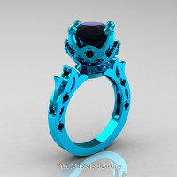 Modern Antique 14K Turquoise Gold 3.0 Carat Black Diamond Solitaire Wedding Ring R214-14KTGBD - Perspective