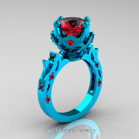 Modern Antique 14K Turquoise Gold 3.0 Carat Rubies Solitaire Wedding Ring R214-14KTGR - Perspective