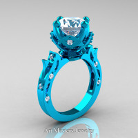 Modern Antique 14K Turquoise Gold 3.0 Carat White Sapphire Solitaire Wedding Ring R214-14KTGWS - Perspective