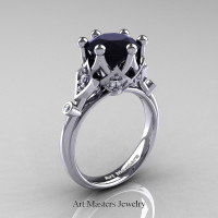 Modern Antique 14K White Gold 3.0 Carat Black and White Diamond Solitaire Wedding Ring R514-14KWGDBD - Perspective