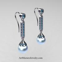 Modern 14K White Gold Sky Blue Freshwater Pearl Aquamarine Drop Earrings E101-14KWGAQSBP - Art Masters Jewelry