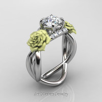 Nature Inspired 14K White Gold 1.0 Ct White Sapphire Diamond Rose Vine Engagement Ring R294-14KWGGDWS - Perspective