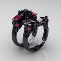 Designer Classic 14K Black Gold Three Stone Princess Black Diamond Pink Sapphire Engagement Ring Wedding Band Set R500S-14KBGPSBD - Perspective