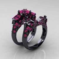 Designer Classic 14K Black Gold Three Stone Princess Pink Sapphire Engagement Ring Wedding Band Set R500S-14KBGPS - Perspective