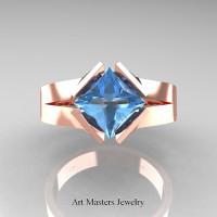 Neomodern 14K Rose Gold 1.5 CT Princess Blue Topaz Engagement Ring R389-14KRGBT