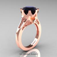 Modern 14K Rose Gold 3.0 Carat Black Diamond Crown Solitaire Wedding Ring R580-14KRGBD - Perspective