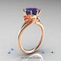 Art Masters 14K Rose Gold 3.0 Ct Chrysoberyl Alexandrite Blue Topaz Dragon Engagement Ring R601-14KRGBTAL
