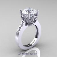 Classic 14K White Gold 3.0 Carat White Sapphire Diamond Solitaire Wedding Ring R301-14KWGDWS