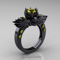 Art Masters Classic Winged Skull 14K Black Gold 1.0 Ct Yellow Sapphire Solitaire Engagement Ring R613-14KBGYS