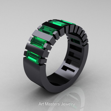 Mens Modern 14K Black Gold Baguette Emerald Cluster Tank Ring R395-14KBGEM
