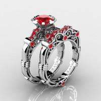 Art Masters Caravaggio 14K White Gold 1.0 Ct Rubies Engagement Ring Wedding Band Set R623S-14KWGR