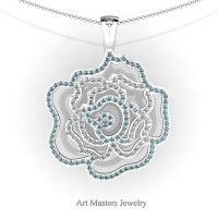 Classic 14K White Gold Aquamarine Diamond Rose Promise Pendant and Necklace Chain P101M-14KWGDAQ