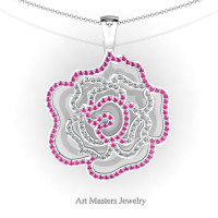 Classic 14K White Gold Pink Sapphire Diamond Rose Promise Pendant and Necklace Chain P101M-14KWGDPS