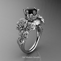 Nature Inspired 14K White Gold 1.0 Ct Black Diamond Rose Bouquet Leaf and Vine Engagement Ring R427-14KWGSBD