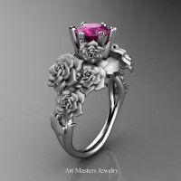 Nature Inspired 14K White Gold 1.0 Ct Pink Sapphire Rose Bouquet Leaf and Vine Engagement Ring R427-14KWGSPS