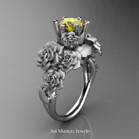 Nature Inspired 14K White Gold 1.0 Ct Yellow Sapphire Rose Bouquet Leaf and Vine Engagement Ring R427-14KWGSYS