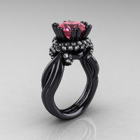 High Fashion 14K Black Gold 3.0 Ct Tourmaline Diamond Knot Engagement Ring R390-14KBGDT