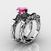 Art Masters Caravaggio 14K White Gold 1.25 Ct Princess Pink Sapphire Black Diamond Engagement Ring Wedding Band Set R623PS-14KWGBDPS