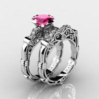 Art Masters Caravaggio 14K White Gold 1.25 Ct Princess Pink Sapphire Diamond Engagement Ring Wedding Band Set R623PS-14KWGDPS