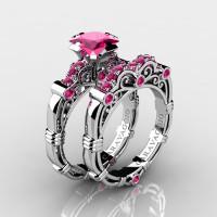 Art Masters Caravaggio 14K White Gold 1.25 Ct Princess Pink Sapphire Engagement Ring Wedding Band Set R623PS-14KWGPS