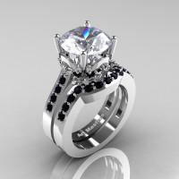 Classic 14K White Gold 3.0 Ct White Sapphire Black Diamond Solitaire Wedding Ring Set R301S-14KWGBDWS