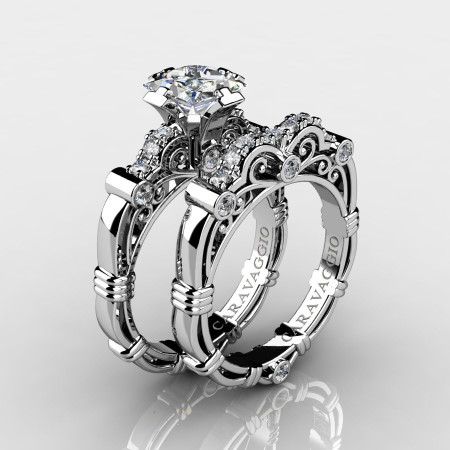 Art-Masters-Caravaggio-14K-White-Gold-1-25-Carat-Princess-White-Sapphire-and-White-Diamond-Engagement-Ring-Wedding-Band-Set-R623PS-14KWGDWS-P