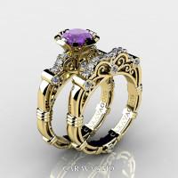 Art Masters Caravaggio 14K Yellow Gold 1.0 Ct Lavender Amethyst Diamond Engagement Ring Wedding Band Set R623S-14KYGDLAM