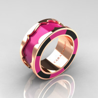 Caravaggio 14K Rose Gold Pink and Black Italian Enamel Wedding Band Ring R618F-14KRGBLPEN