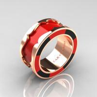 Caravaggio 14K Rose Gold Red and Black Italian Enamel Wedding Band Ring R618F-14KRGBLREN
