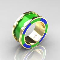 Caravaggio 14K Yellow Gold Lime Green and Blue Italian Enamel Wedding Band Ring R618F-14KYGBLGE