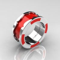 Caravaggio 14K White Gold Red and White Italian Enamel Wedding Band Ring R618F-14KWGWREN