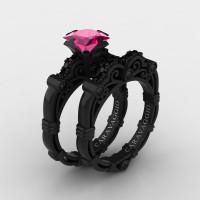Art Masters Caravaggio 14K Black Gold 1.25 Ct Princess Pink Sapphire Black Diamond Engagement Ring Wedding Band Set R623PS-14KBGBPS