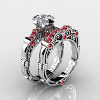 Art Masters Caravaggio 14K White Gold 1.25 Ct Princess White Sapphire Ruby Engagement Ring Wedding Band Set R623PS-14KWGRWS