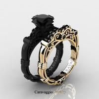 Caravaggio 14K Black and Yellow Gold 1.25 Ct Princess Black and White Diamond Engagement Ring Wedding Band Set R623PS3-14KBYGDBD