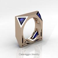 Mens Avant Garde 14K Rose Gold 1.0 Ct Triangle Royal Blue Sapphire Wedding Ring R349M2-14KRGBS