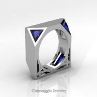 Mens Avant Garde 14K White Gold 1.0 Ct Triangle Royal Blue Sapphire Wedding Ring R349M2-14KWGBS