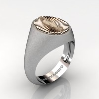 Virgen de Guadalupe Mens 14K White and Rose Gold Oval Signet Ring Mexico R705-14KWRGS